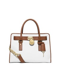 Michael Kors Hamilton Two Tone Leather Satchel Optic White