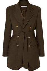 Rejina Pyo Elliot Belted Double Breasted Layered Wool Blend Twill Blazer Army Green