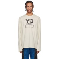 Y 3 Off White Stacked Logo Long Sleeve T Shirt