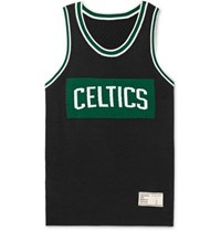 The Elder Statesman Nba Celtics Intarsia Cashmere And Silk Blend Tank Top Black