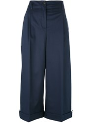Semicouture Side Stripe Cropped Trousers Blue