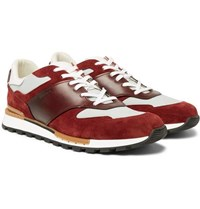 Berluti Run Track Leather Suede And Nylon Sneakers Burgundy