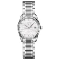 Longines L22574876 Women's Master Collection Automatic Date Diamond Bracelet Strap Watch Silver Mother Of Pearl