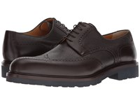A. Testoni Mixed Media Rubber Sole Wingtip Derby Ebony Men's Lace Up Wing Tip Shoes Black