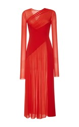Emilio Pucci Draped Long Sleeve Maxi Dress Red