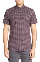 Calibrate Men's Trim Fit Short Sleeve Grid Military Shirt