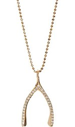 Jennifer Meyer Wishbone Pendant Necklace Colorless