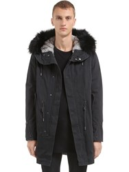 Yves Salomon Fitted Canvas Parka W Fur Trim And Lining