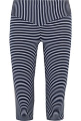 Olympia Activewear Mateo Cropped Striped Stretch Jersey Leggings Navy