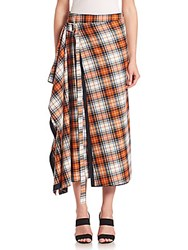 Alberta Ferretti Orange Plaid Wrap Midi Skirt Red Multi