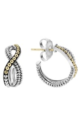 Lagos Infinity Double Twist Hoop Earrings Silver Gold