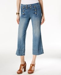 Michael Kors Cropped Light Cadet Wash Flare Leg Jeans