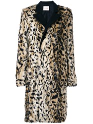 A.F.Vandevorst Tailored Furry Coat Polyester Acetate Modal S Nude Neutrals