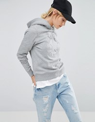 Converse Embossed Logo Pullover Hoodie In Grey With Borg Lining Grey