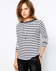 Zadig And Voltaire Zadig And Voltaire Top In Stripe With Glitter Skull Motif Blackwhite