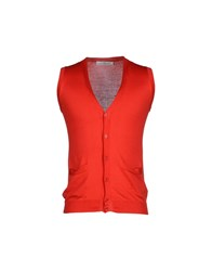Grey Daniele Alessandrini Knitwear Cardigans Men Red