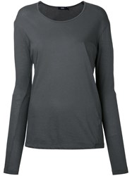Bassike Fitted Top Women Cotton L Grey