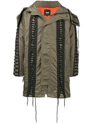 Ktz Lace Up Hooded Parka Green