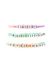 Forever 21 Beaded Hangry Bracelet Set White Multi