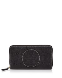 Tory Burch Perforated Logo Zip Leather Continental Wallet Black Gold