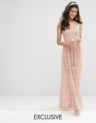 Body Frock Bodyfrock Cami Strap Maxi Dress In Allover Lace Rose Brown