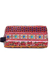 Dolce And Gabbana Printed Canvas Pouch Red