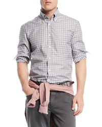 Brunello Cucinelli Windowpane Cotton Sport Shirt Gray