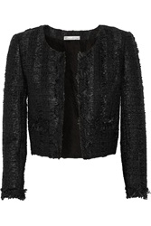 Oscar De La Renta Cropped Boucle Tweed Jacket Black