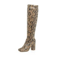 River Island Womens Brown Snake Print Knee High Boots
