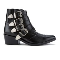 Toga Pulla Women's Buckle Side Leather Heeled Ankle Boots Black Leather
