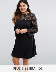 Pink Clove Lace Insert Swing Dress Black