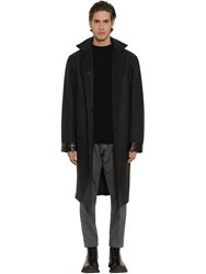 Jil Sander Reversible Wool Raincoat W Leather Patch Dark Grey