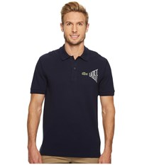 Lacoste Short Sleeve 'Graphic Animtn' Embroidered Pique Regular Navy Blue Flour Men's Short Sleeve Pullover Gray