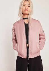 Missguided Petite Soft Touch Bomber Jacket Pink Mauve