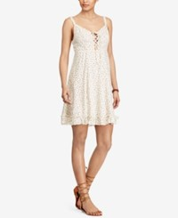 Denim And Supply Ralph Lauren Floral Print Lace Up Dress Wind Chime Floral Cream Combo
