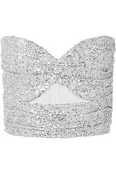 Attico Cutout Sequined Tulle Bustier Top Silver