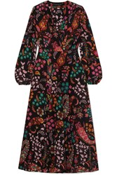 Etro Printed Silk Crepe De Chine Wrap Dress Black