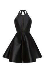Alex Perry The Delany Silk Halter Open Back Mini Dress Black