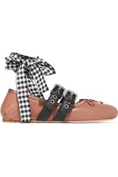 Miu Miu Lace Up Leather Ballet Flats Pink