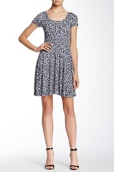 Soprano Bow Back Floral Knit Dress Blue