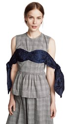 Edit Bow Off Shoulder Peplum Top Pow Check With Navy