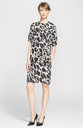 Escada Leopard Print Jersey Shift Dress Flannel