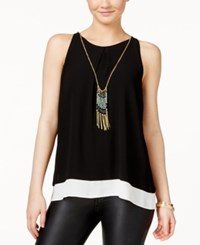 Amy Byer Bcx Juniors' Sleeveless Colorblocked Necklace Blouse Black
