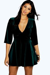 Boohoo Velvet Plunge Empire Seam Skater Dress Emerald