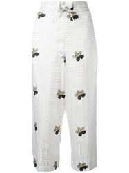 Victoria Beckham Checked Cropped Trousers White