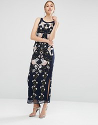 Frock And Frill Embroidered Beaded Maxi Dress Navy