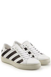 Off White Printed Leather Sneakers