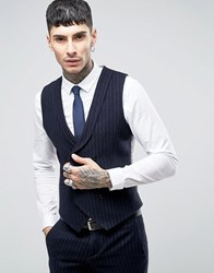 Noose And Monkey Skinny Db Waistcoat In Brushed Pinstripe Navy