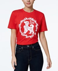 Hybrid Juniors' 2018 Year Of The Dog Graphic T Shirt Red