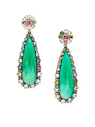 Bavna .39Tcw Diamonds Green Onyx And Tourmaline Sterling Silver Earrings